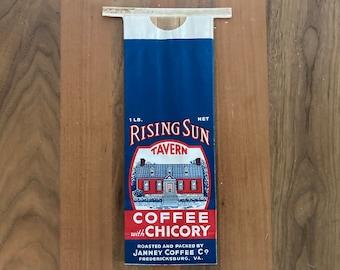 Vintage Coffee Bag (Advertising Art) Rising Sun Tavern Coffee with Chicory- Janney Coffee Co. (Fredericksburg, VA.)