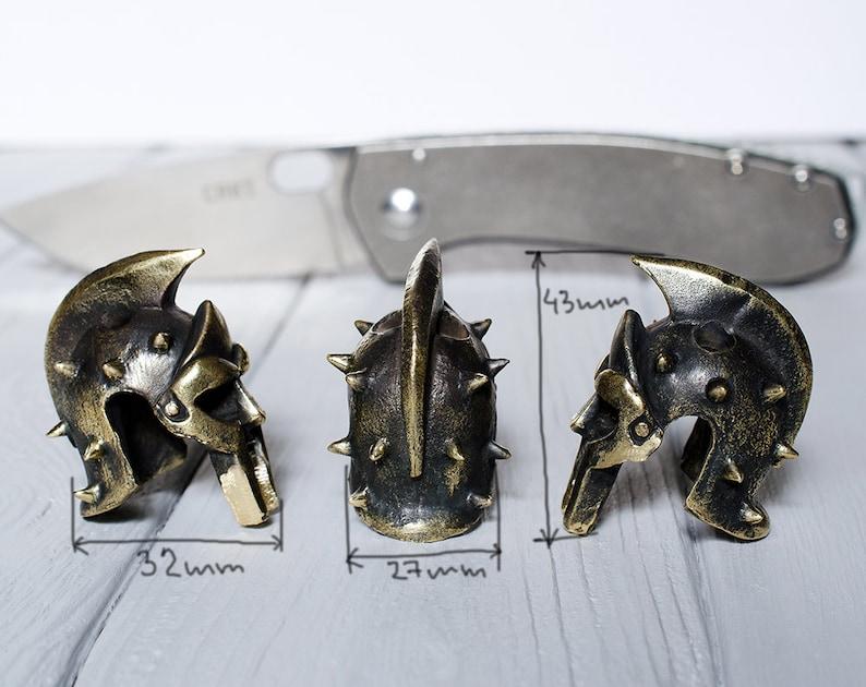 Spartan Gladiator helmet Paracord beads of bronze heavy beads are handmade unique designs! Maximus Gladiator Helmet paracord beads Big