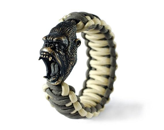 gorilla paracord bracelet monkey charm bracelet with a etsy