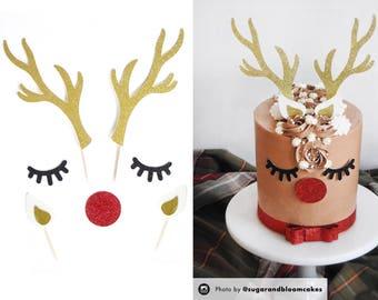 Reindeer Cake Topper, Holiday Cake Topper, Christmas Cake Topper, Christmas Topper, Christmas Decoration, Reindeer Food, Holiday Decoration