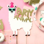 Llama Happy Birthday Cake Topper, Llama Party, Birthday Cake Topper, Custom Cake Topper, Party Animal, Gold Glitter, Llama Cake Topper, Gold