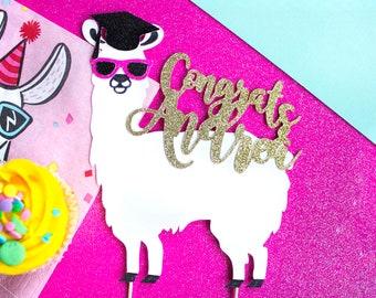 Custom Grad Cake Topper, Graduation Cake, Graduation Topper, Personalized Grad, Congrats Grad, Graduation Gift, Grad Party, Llama Party
