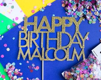 Custom Birthday Cake Topper, First Birthday, Birthday Cake Topper, Custom Topper, Gold, Birthday Party, Birthday Decoration, 30th Birthday