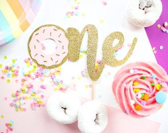 One Donut Cake Topper, Donut Cake Topper, Smash Cake Topper, 1st Birthday, First Birthday, Cake Topper Girl, Donut Grow Up Cake Topper, Gold