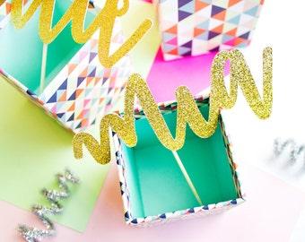 Custom Cake Topper, Birthday Cake Topper, Custom Name Topper, First Birthday, Glitter Cake Topper,  Smash Cake, Cake Topper Gold, Custom