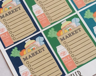F002--Grocery Getter Checklist Full Box Planning Stickers for the Erin Condren Vertical ECLP or Happy Planner. Market List Store