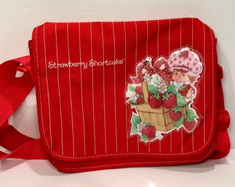 Vintage Strawberry Shortcake Purse Messenger Shoulder Bag Crossbody Puffy Sticker Look Retro 80s 90s 11x9x3