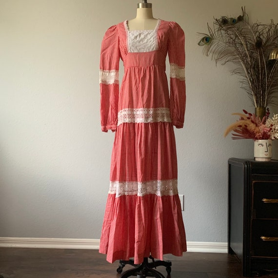Vintage red gingham Gunne Sax prairie dress - image 3