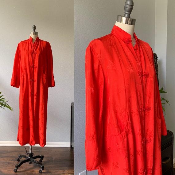 Vintage red kimono, robe, housecoat