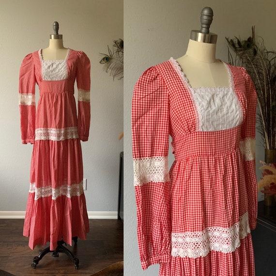 Vintage red gingham Gunne Sax prairie dress - image 1