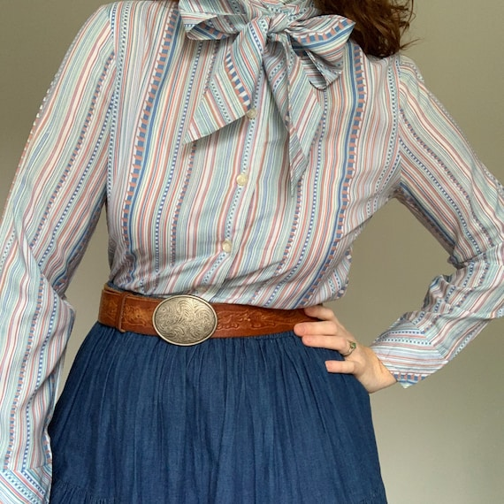 Vintage 1970's striped blue pussy bow blouse