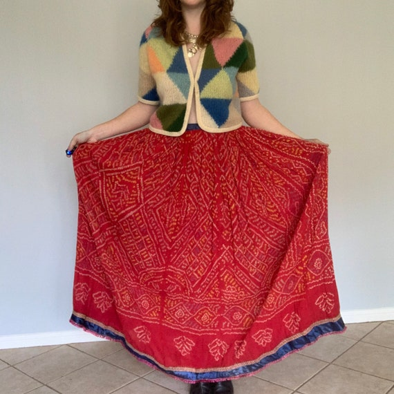 Vintage Indian cotton maxi skirt