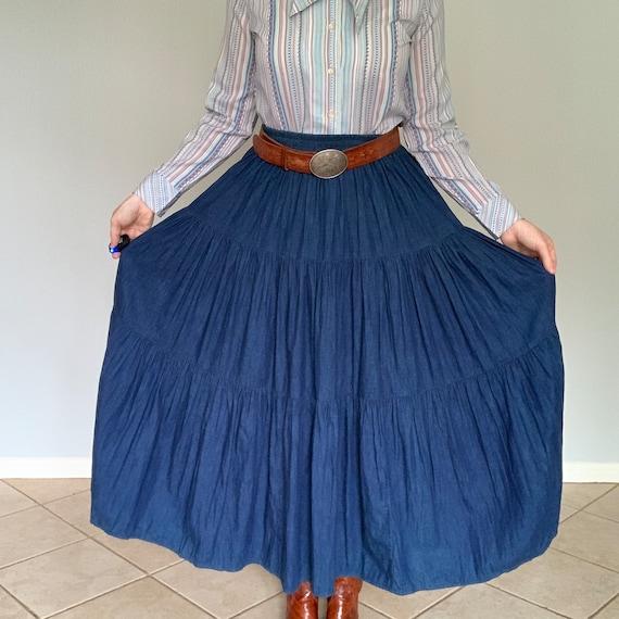 Vintage 1970's tiered denim skirt