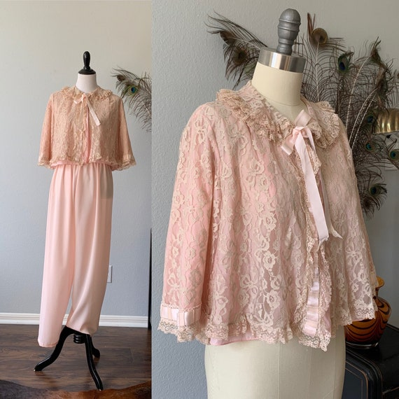 Vintage 1960's bed jacket and pants