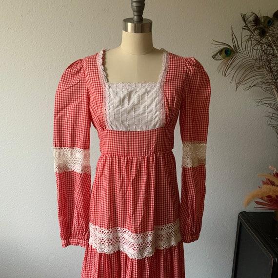Vintage red gingham Gunne Sax prairie dress - image 4