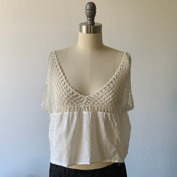Vintage 1920's cream cotton crochet bralette