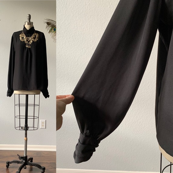 Vintage black balloon sleeve blouse