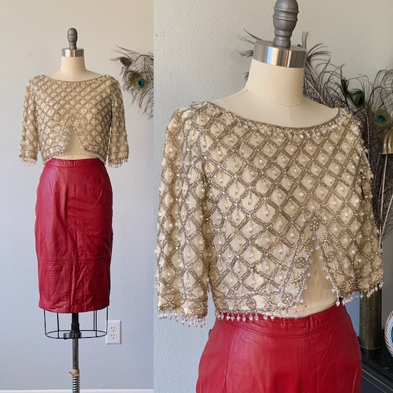 Vintage 1960's Cream cropped jeweled top