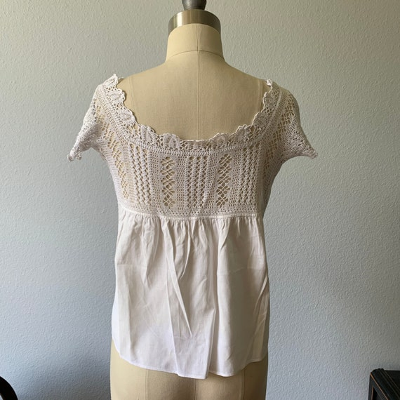 Vintage white cotton & lace camisole - image 2