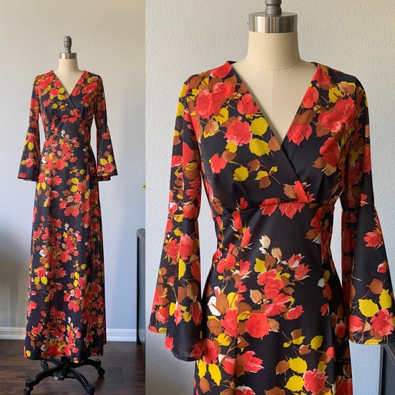 Vintage 1970's floral maxi dress with bell sleeves