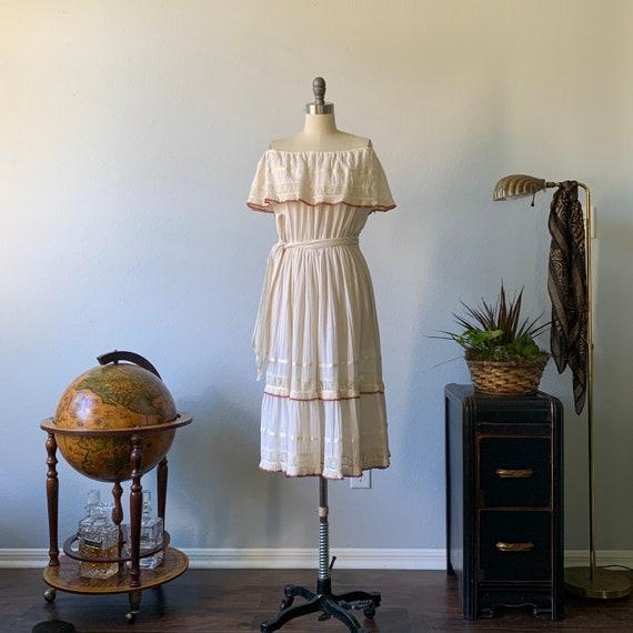 Vintage 1970's cream cotton peasant dress