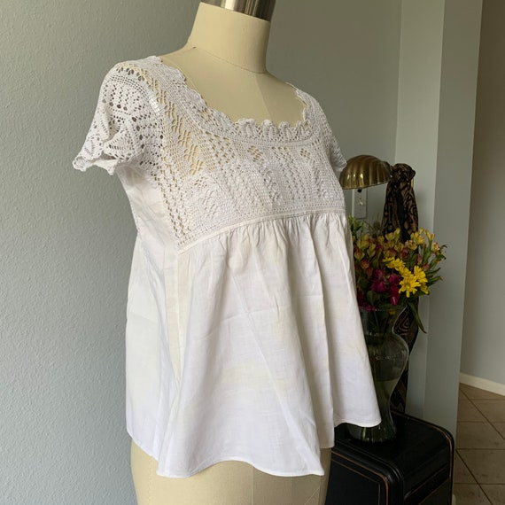 Vintage white cotton & lace camisole - image 3