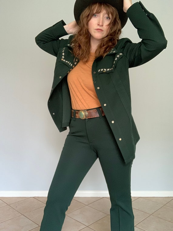 Vintage bottle green 1970's Lee western suit with