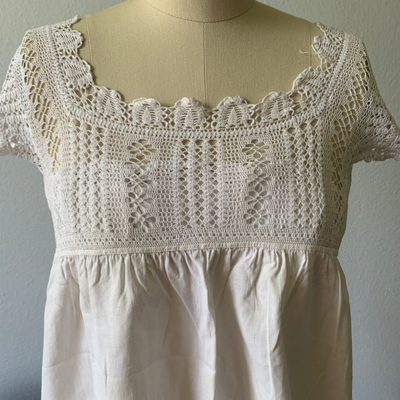 Vintage white cotton & lace camisole - image 4