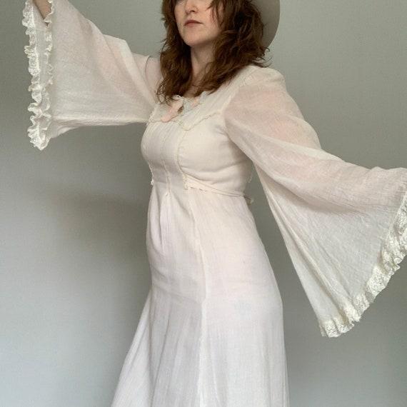 Vintage 1960's cream cotton angel sleeve maxi dres