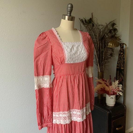 Vintage red gingham Gunne Sax prairie dress - image 5