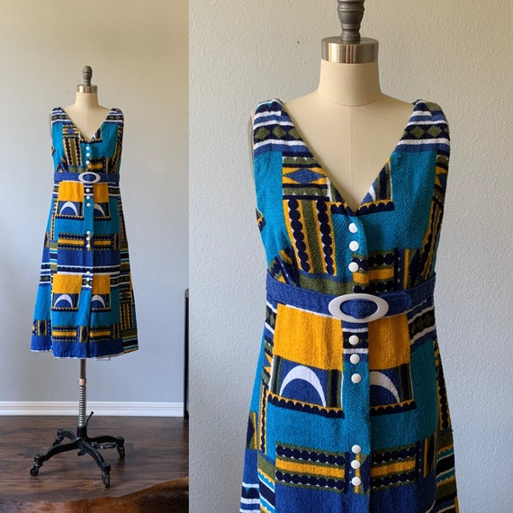 Vintage 1960's print terry cloth bikini coverup