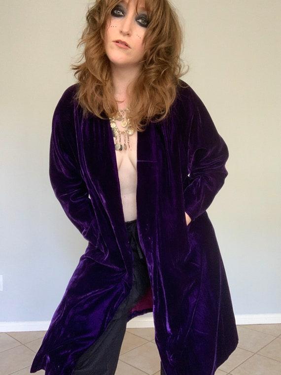 Vintage purple velvet duster jacket