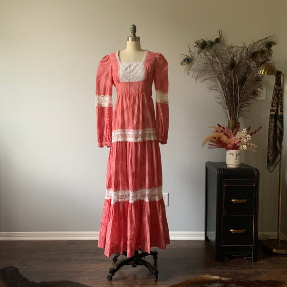 Vintage red gingham Gunne Sax prairie dress - image 2