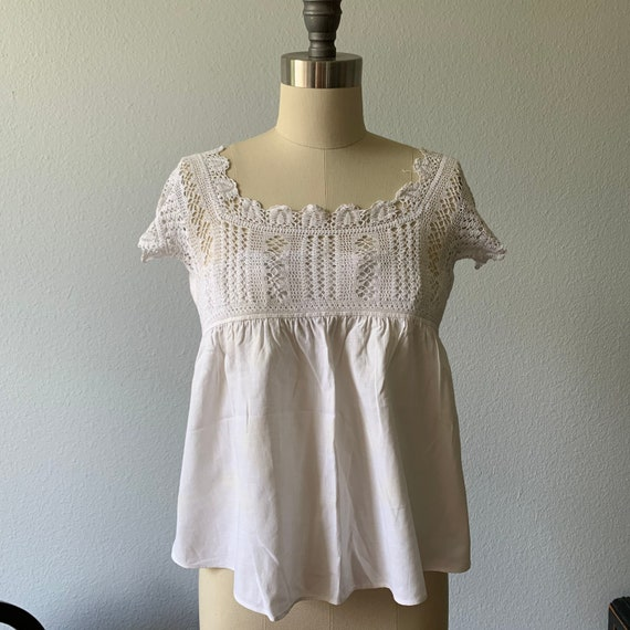 Vintage white cotton & lace camisole - image 1