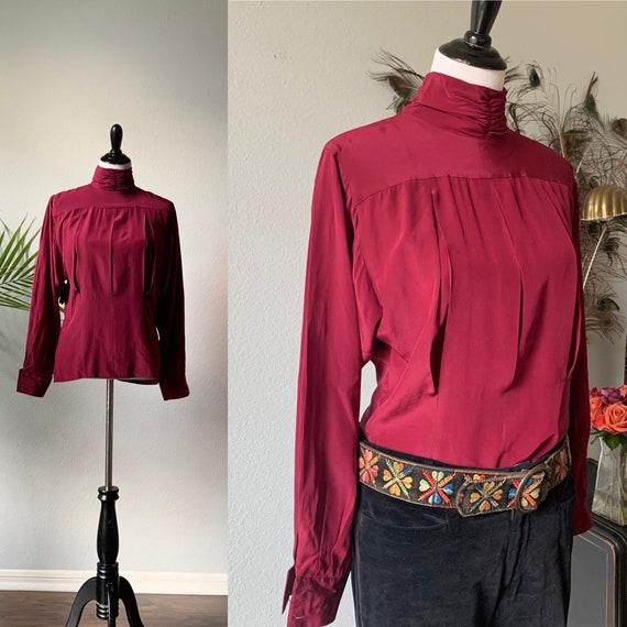 Vintage maroon silk bishop sleeve blouse