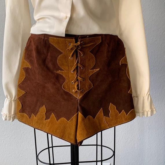 Epic vintage 1970's suede lace front hot pants