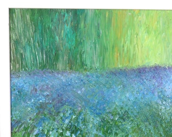 """Impressionist art painting - Oil painting of Sussex landscape """" Bluebells in Sussex woodland"""" complete with a contemporary frame"""