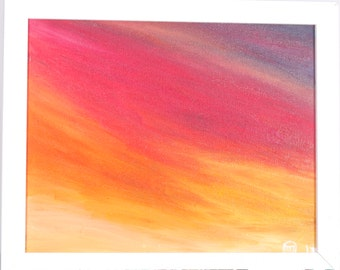"""Abstract sunset painting - original oil painting of Sussex landscape  """"Red sky at night"""" inspired from sunsets over Sussex"""