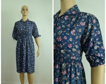11b89774e48d Vintage Womens 1970s Peggy Barker Blue Floral Print Shirtwaist Dress