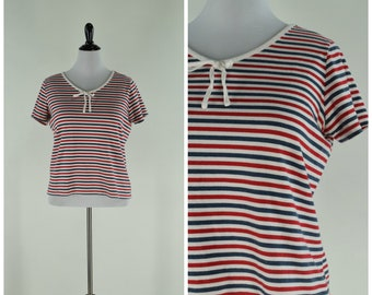 0a7e1c931 Vintage Womens Red White and Blue Stripe Tie Neck Nautical Short Sleeve Tee  Shirt | Size L