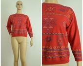 Vintage Womens 1980s 1990s Long Sleeve Red Tee Shirt Sweatshirt with Southwestern and Roses Banded Stripe Print Size M