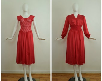 Vintage 1980s Nancy King Red Matching Two Piece Peignoir Lingerie Set with  Sheer Lace  dad8dd8d5