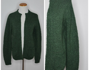 d7f79a941e8 Vintage Moss Green Nubby Texture Open Front Cardigan Sweater with Pockets