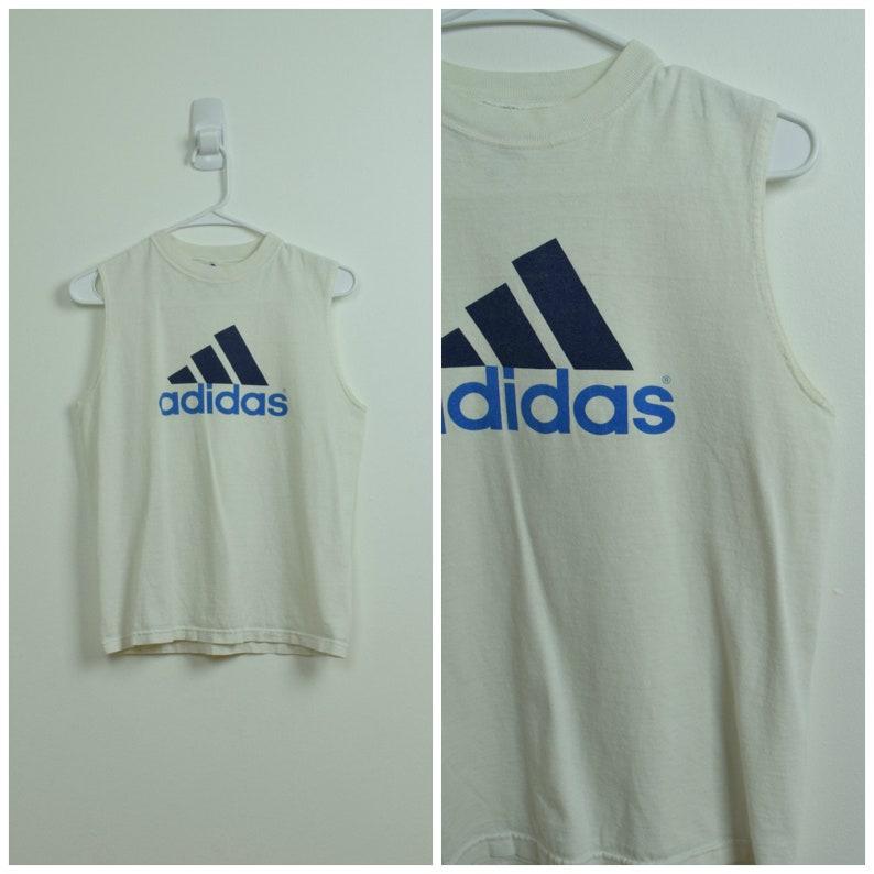 e1803240abf Vintage Adidas White & Blue Sleeveless Logo Crew Neck Tee | Etsy