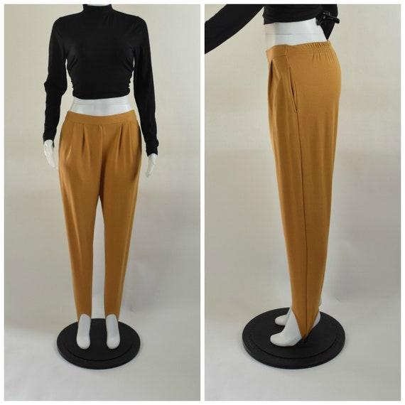 Vintage 80s Mustard Yellow Knit Stirrup Pants, Siz