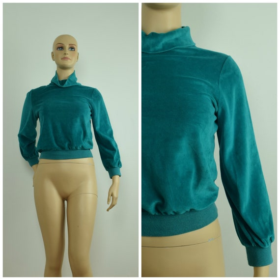 Vintage 70s Teal Green Velour Cowl Neck Sweater Sw