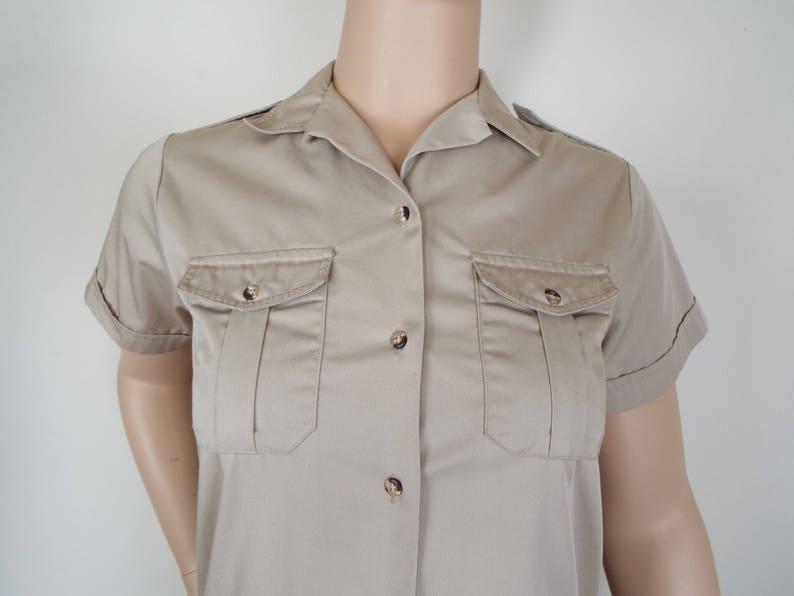 Vintage LL Bean Tan Button Front Cotton Shirtdress Size M
