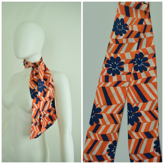 Vintage 60s 70s Colorful Silky Fabric Neck Tie, He