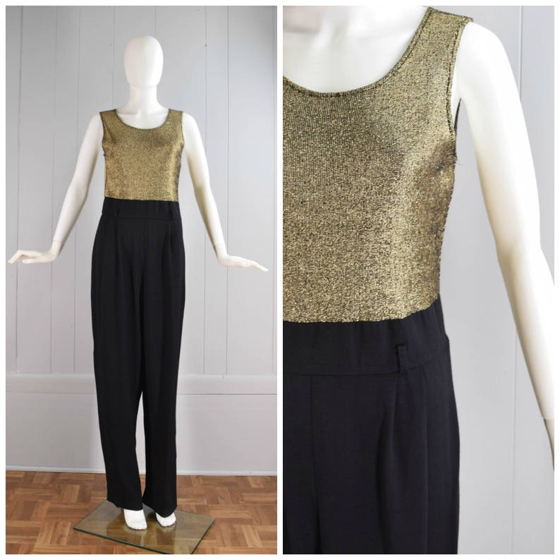 8c1ca6eddba5 Vintage Womens 1990s Glittery Gold and Black Sleeveless One Piece Jumpsuit