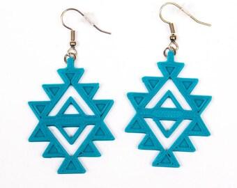 Aztec Earrings / Teal Earrings / 3D printed earrings
